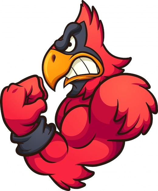 Rotes kardinal-maskottchen Premium Vektoren