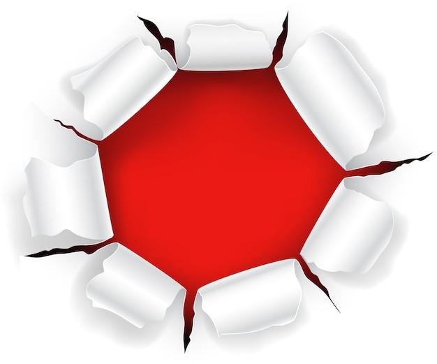 Rotes loch im papier mit heftigen seiten. Premium Vektoren