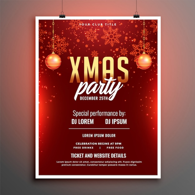 Rotes partyfeier-fliegerplakat der frohen weihnachten Kostenlosen Vektoren