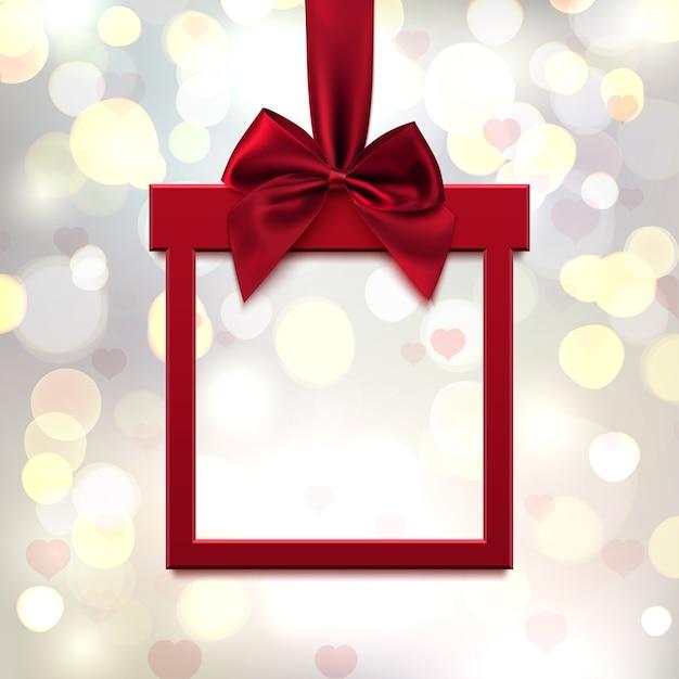 Rotes, quadratisches banner in form eines geschenks mit rotem band und schleife, auf leichtem unscharfem hintergrund mit herzen und bokeh. valentinstag grußkarte, broschüre oder banner vorlage. illustration. Premium Vektoren