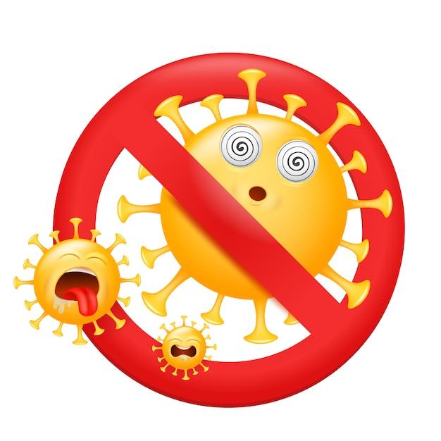 Rotes schild vorsicht coronavirus. pandemisches medizinisches konzept. virus emoji zeichensymbol. Premium Vektoren