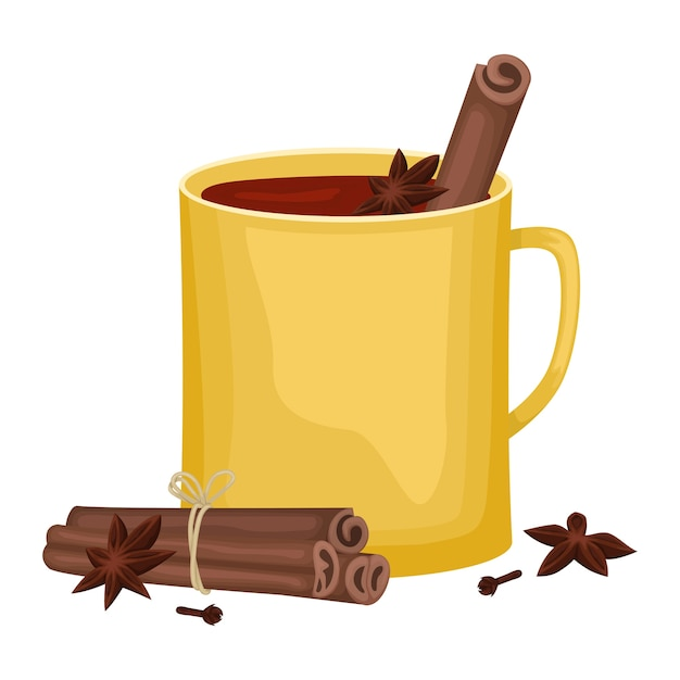 Rotglühwein in einer gelben tasse mit zimtstangen, nelken und einer wanne. alkoholisches wintergetränk. illustration. Premium Vektoren