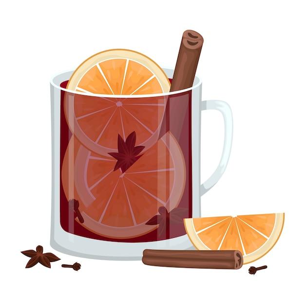 Rotglühwein in einer tasse mit orangenscheiben, zimt, nelken und einer wanne. alkoholisches wintergetränk. illustration. Premium Vektoren