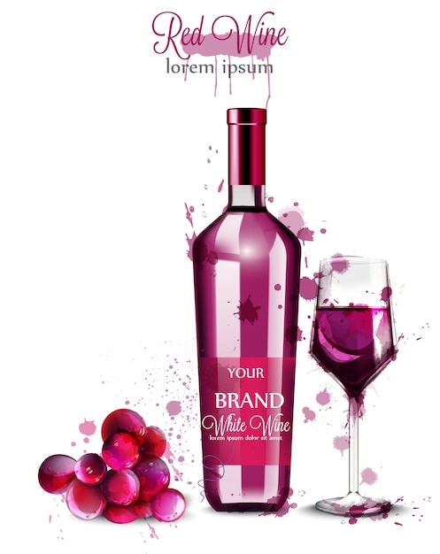 Rotweinflasche aquarell Premium Vektoren