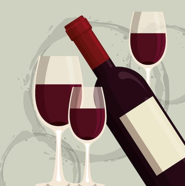 Rotweinflasche und tasse etikett Premium Vektoren