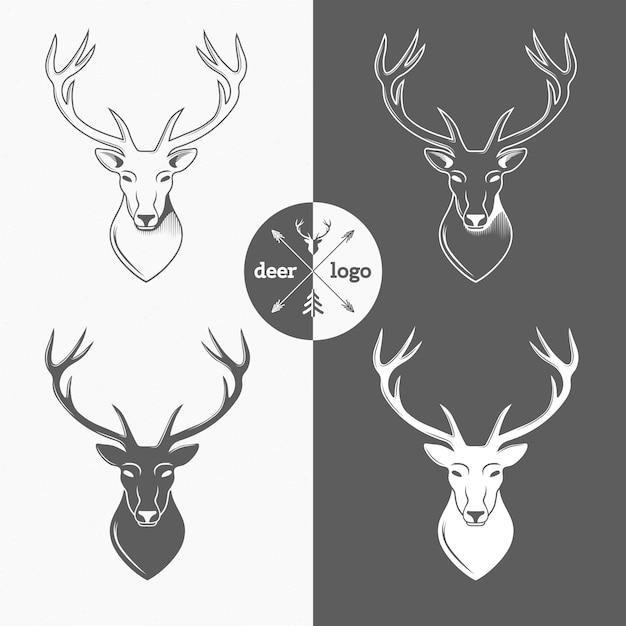 Rotwildkopf lokalisiert für den jägerverein, jagend. vektor-illustration Premium Vektoren