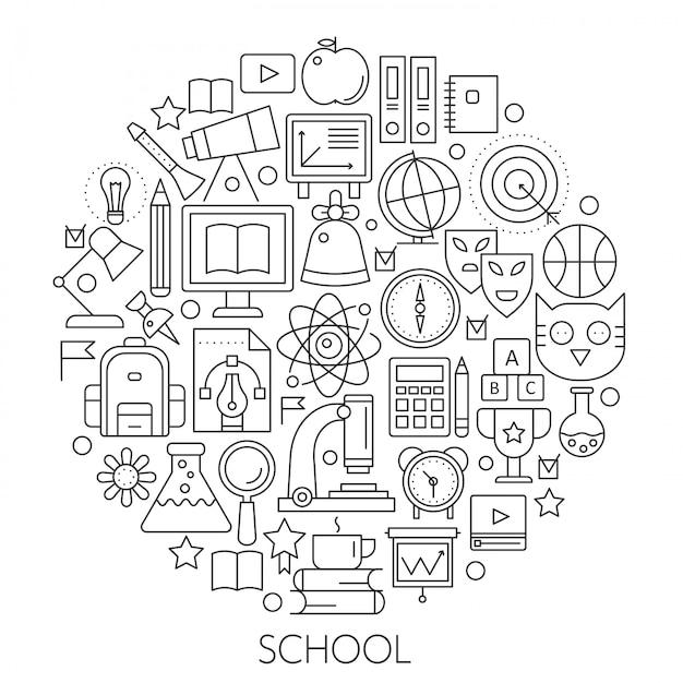 Round line-konzept für zurück in die schule Premium Vektoren