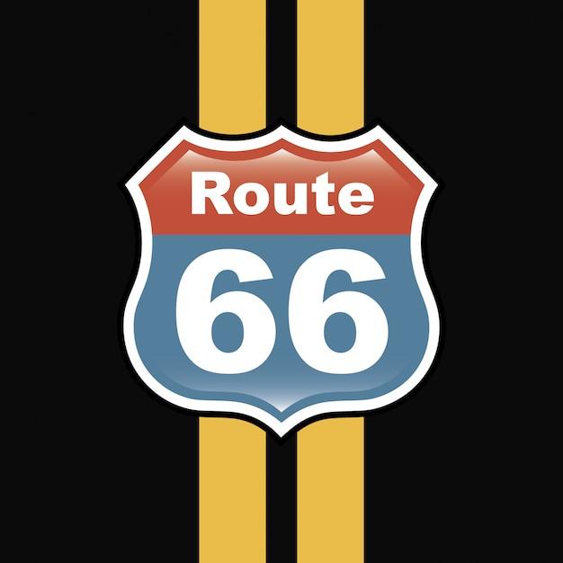 Route 66 label über schwarze hintergrundvektorillustration Premium Vektoren