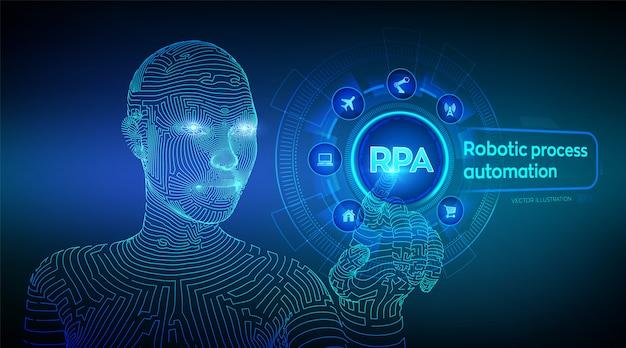 Rpa. roboter prozessautomatisierung. wireframed cyborghand, die digitale diagrammschnittstelle berührt. Premium Vektoren