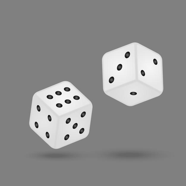 Rrealistische spielwürfel lokalisiert auf weißem hintergrund Premium Vektoren