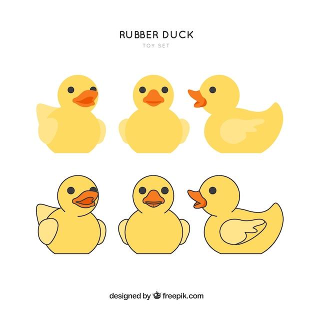 Rubber duck toy-set Kostenlosen Vektoren