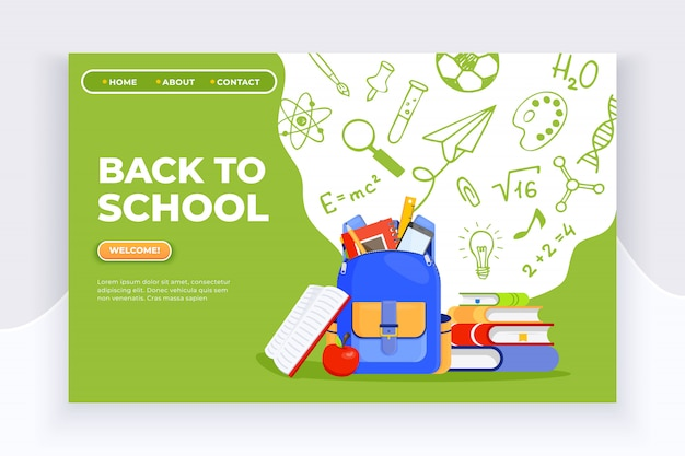 Rucksack, apfel, bücher und schulmaterial banner Premium Vektoren