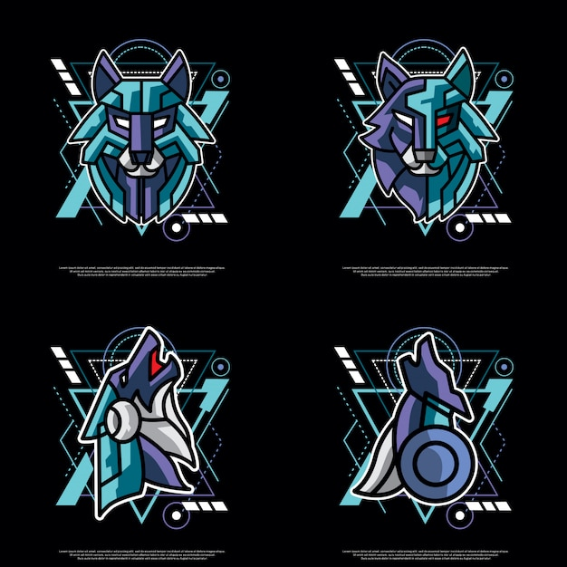 Rudel heiliger geometrie wolf Premium Vektoren