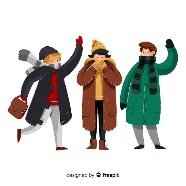 Rudel leute, die winterkleidung tragen Kostenlosen Vektoren