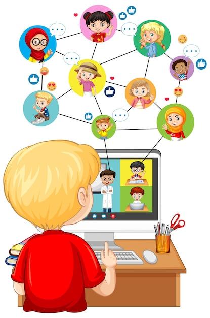 Rückansicht des jungen, der computer für online-lernen auf weißem hintergrund betrachtet Kostenlosen Vektoren