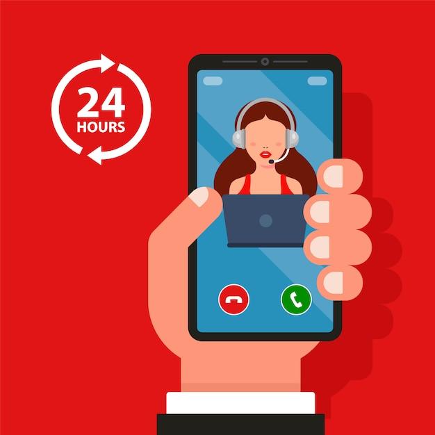 Rufen sie das callcenter vom telefon aus an. 24 stunden helfen. flache illustration. Premium Vektoren