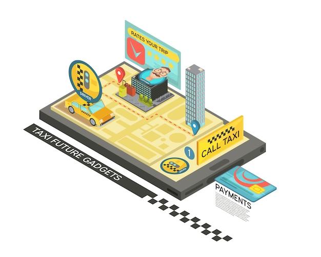 Rufen sie taxi durch isometrisches design des geräts mit auto, karte, häuser auf vektorillustration des bildschirms des tragbaren geräts 3d an Kostenlosen Vektoren