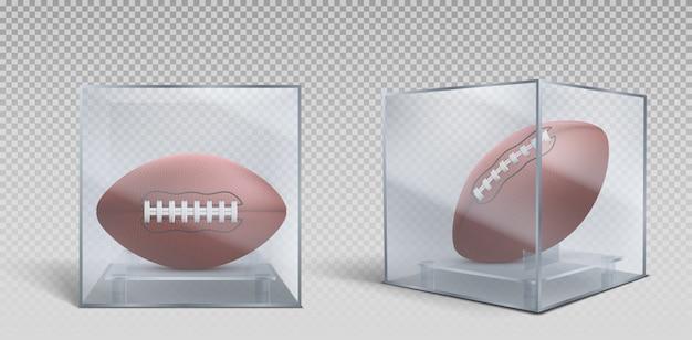 Rugbyball in einer box aus klarem glas oder kunststoff Kostenlosen Vektoren