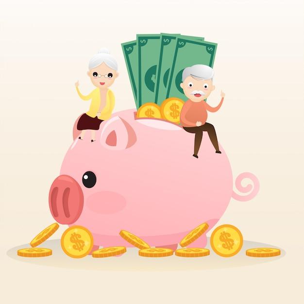Ruhestand-konzept. alter mann und frau mit goldenem sparschwein. tragendes altersguthabenrosa piggy. geld sparen für die zukunft. vektor, abbildung. Premium Vektoren