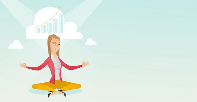 Ruhige geschäftsfrau, die yoga tut. Premium Vektoren