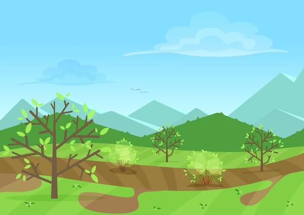 Ruhige grüne landschaft mit bergen Premium Vektoren