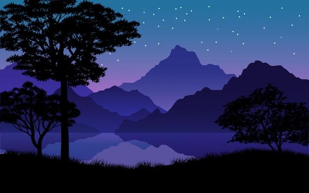Ruhige sternenklare nacht mit gebirgs-, fluss- und baumschattenbild Premium Vektoren