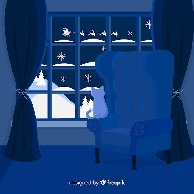 Ruhiger nachtweihnachtshintergrund Kostenlosen Vektoren