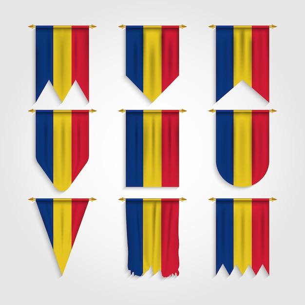 Rumänien flagge mit verschiedenen formen, flagge von rumänien in verschiedenen formen Premium Vektoren