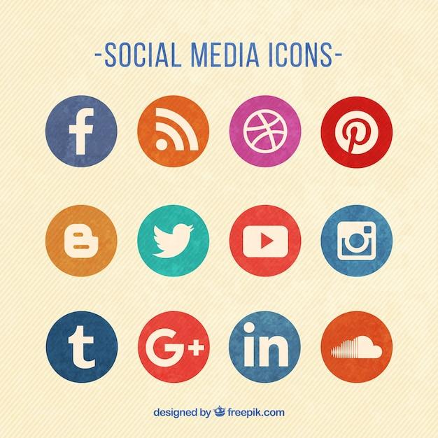 Rund social media icons farbige Kostenlosen Vektoren