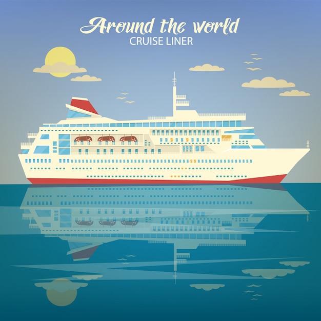 Rund um die welt reisen banner mit kreuzfahrtschiff Premium Vektoren