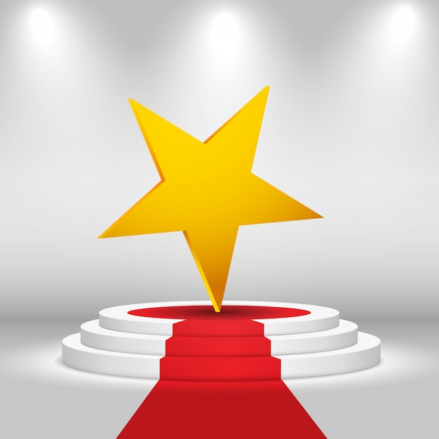 Rundbühne mit stern und rotem teppich Premium Vektoren