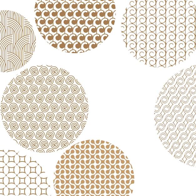Runde geometrische goldene verschiedene muster auf weiß Premium Vektoren