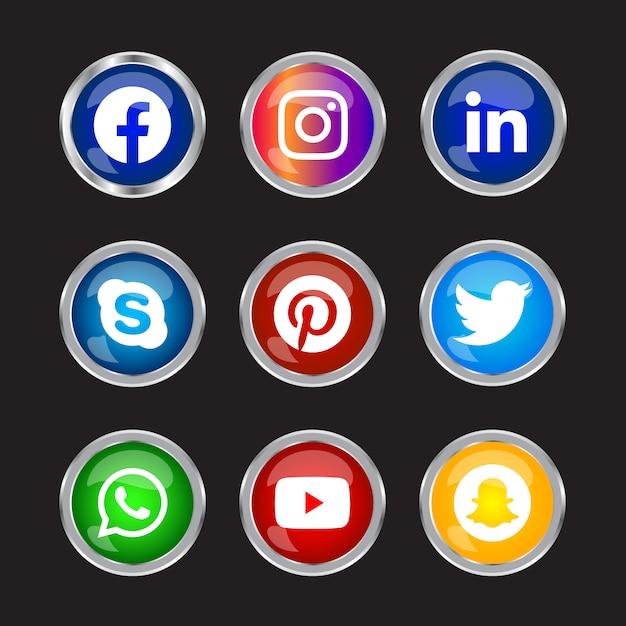 Runde, glänzende, silberne rahmen-schaltfläche für social media-symbole mit verlaufseffekt für die online-verwendung der ux-benutzeroberfläche Premium Vektoren