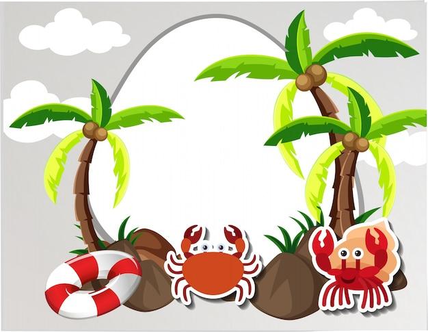 Runde grenze mit krabben und kokosnussbäumen Kostenlosen Vektoren