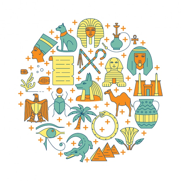 Runde illustration mit ägypten-symbolen Premium Vektoren