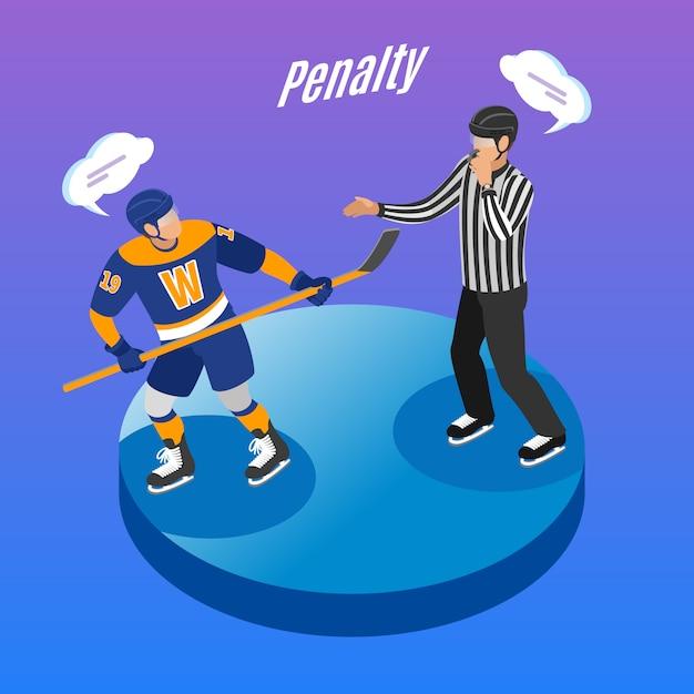 Runde isometrische des eishockeys bauen zusammensetzung mit dem referenten ab, der beleidigenden spieler im strafraum sendet Kostenlosen Vektoren