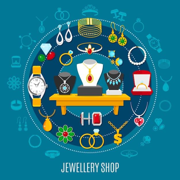 Runde komposition des juweliergeschäfts mit weiblichen und männlichen dekorationen einschließlich handuhr auf blauem hintergrund Kostenlosen Vektoren