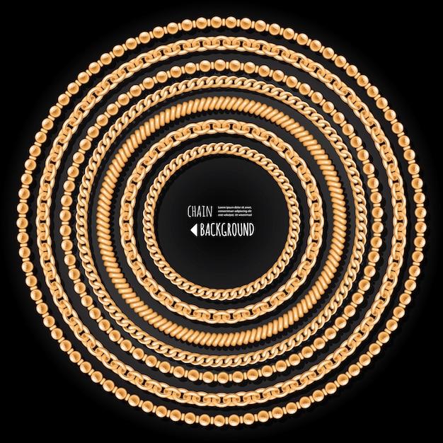 Runde rahmenschablone der goldketten auf schwarzem hintergrund Premium Vektoren