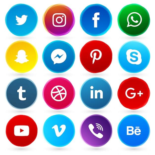 Runde soziale Netzwerk Symbole Kostenlose Vektoren