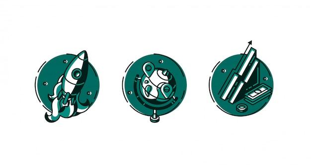 Runde symbole rakete, globus und datendiagrammsatz. Kostenlosen Vektoren