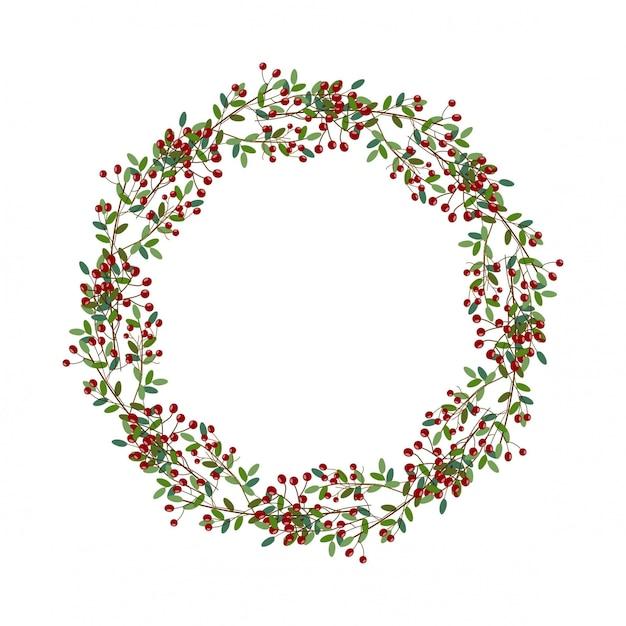 Runde weihnachtskranzillustration Premium Vektoren