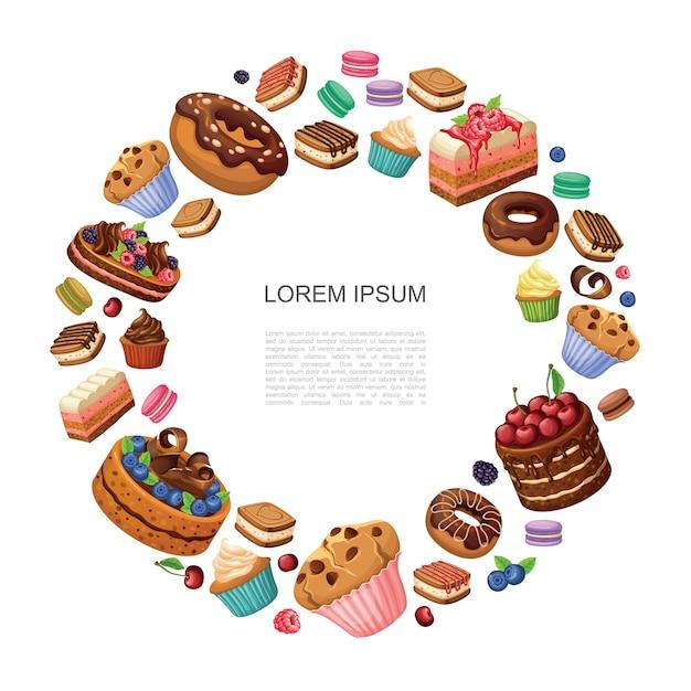 Runde zusammensetzung der karikaturendesserts mit donuts-kuchenstücken makronen cupcakes muffins kuchen mit himbeeren brombeeren blaubeeren isoliert Kostenlosen Vektoren