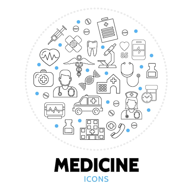 Runde zusammensetzung mit medizinischen versorgungselementen Kostenlosen Vektoren