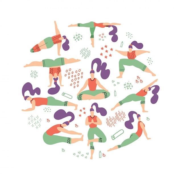 Runde zusammensetzung von yogafrauen Premium Vektoren