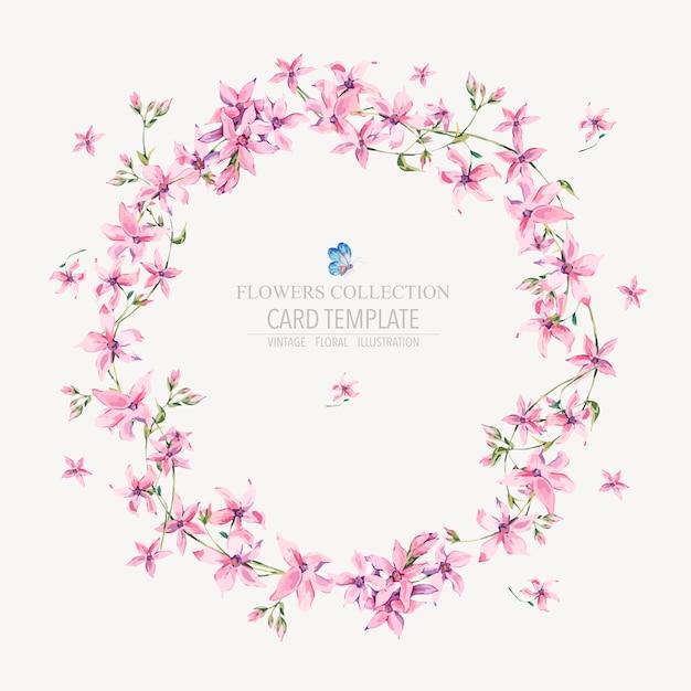 Runder mit blumenkranz der vektorweinlese mit rosa wildflowers Premium Vektoren