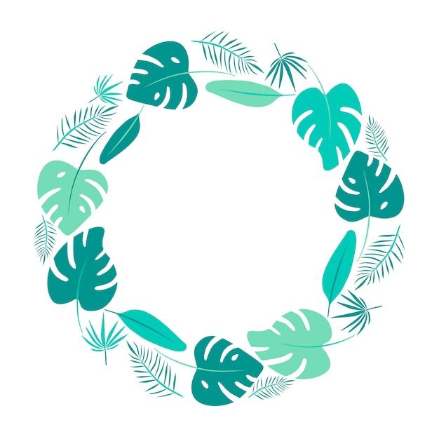 Runder rahmen der hellgrünen tropischen blätter Premium Vektoren