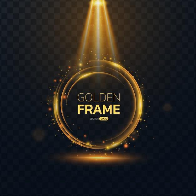 Runder rahmen des goldenen glühens mit textraum. Premium Vektoren