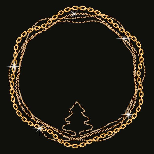Runder rahmen mit gedrehten goldenen ketten in baumform Premium Vektoren