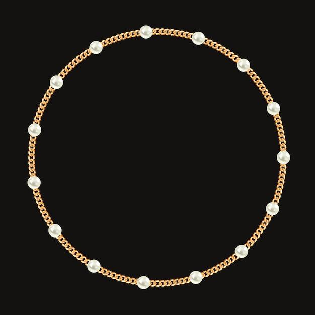 Runder rahmen mit goldener kette und weißen perlen. Premium Vektoren
