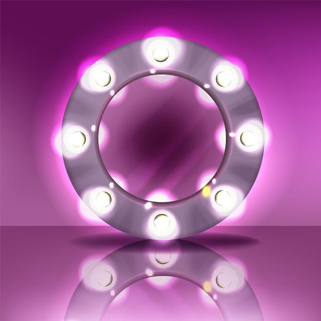 Runder spiegel des makes-up mit lampenbirnenillustration des modernen silbernen rahmens mit realistischem licht Kostenlosen Vektoren